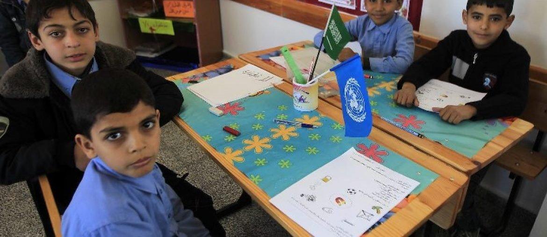 Kinderen op een UNRWA school in Gaza